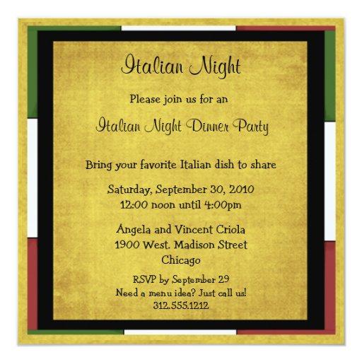 italian night dinner party invitation square size zazzle. Black Bedroom Furniture Sets. Home Design Ideas