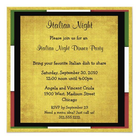 italian night dinner party invitation square size zazzle com