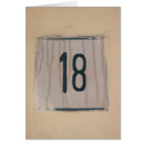 Italian Number 18 on Old Antique Wall Card