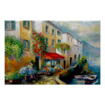 italian ocean front street poster, townscape ocean