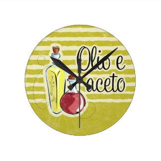Italian Oil & Vinegar Round Clock