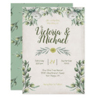 Italian Olive branch Wedding Invitations