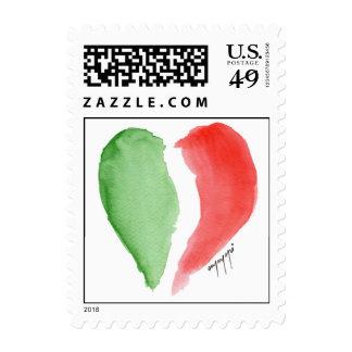 italian on heart postage