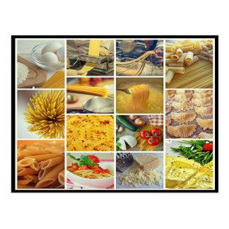 italian parmesan cheese tomato noodles collage postcard