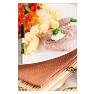 Italian pasta and slices of meat Dry-Erase board