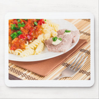 Italian pasta and slices of meat mouse pad