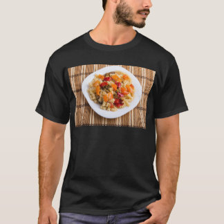Italian pasta fusilli wooden background T-Shirt