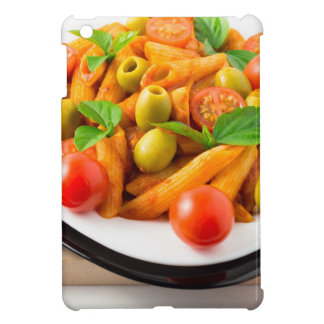 Italian pasta penne in tomato sauce with olives cover for the iPad mini