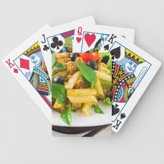 Italian pasta rigatoni with bolognese sauce bicycle playing cards