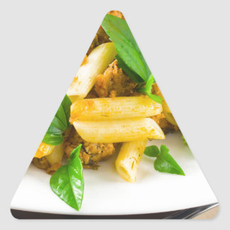 Italian pasta rigatoni with bolognese sauce triangle sticker