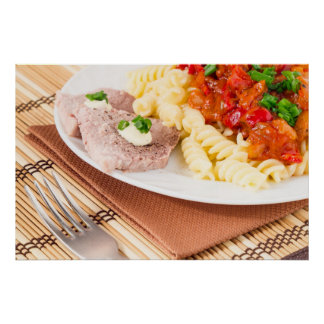Italian pasta with vegetable sauce and meat poster
