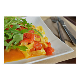 Italian pasta with vegetables poster