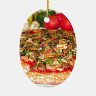 Italian Pizza Double-Sided Oval Ceramic Christmas Ornament