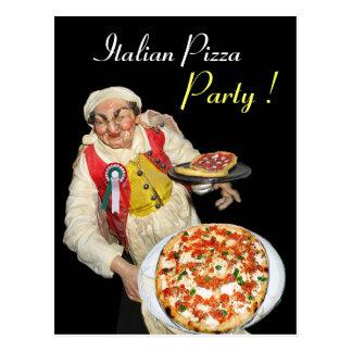 ITALIAN PIZZA PARTY Black Recipe Postcard