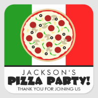 Italian Pizza Party Favor Stickers
