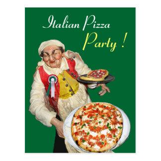 ITALIAN PIZZA PARTY Green Recipe Postcard