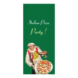 ITALIAN PIZZA PARTY ,PIZZERIA,black,green Rack Card Design