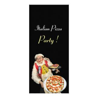 ITALIAN PIZZA PARTY ,PIZZERIA,black Personalized Rack Card