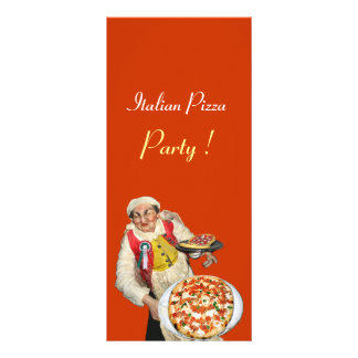 ITALIAN PIZZA PARTY ,PIZZERIA,orange,black Personalized Rack Card