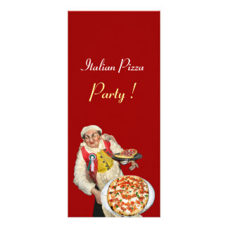 ITALIAN PIZZA PARTY ,PIZZERIA,red,black Rack Card
