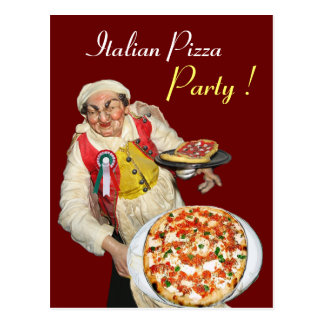 ITALIAN PIZZA PARTY Red Recipe Postcard