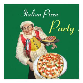 ITALIAN PIZZA PARTY , RESTAURANT black green Invitation