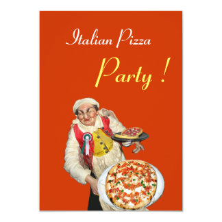 ITALIAN PIZZA PARTY , RESTAURANT orange black 5x7 Paper Invitation Card