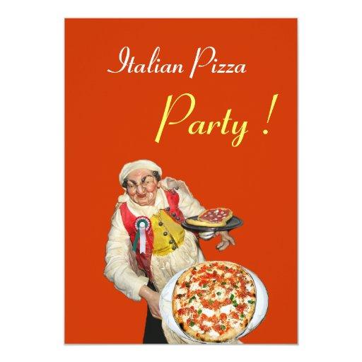 Italian pizza party restaurant orange black 5x7 paper invitation