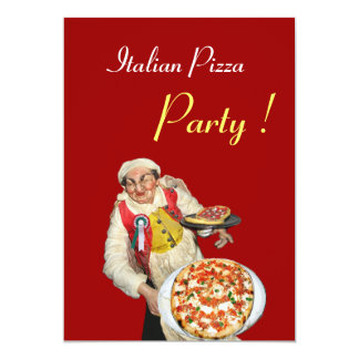 ITALIAN PIZZA PARTY , RESTAURANT red black 5x7 Paper Invitation Card