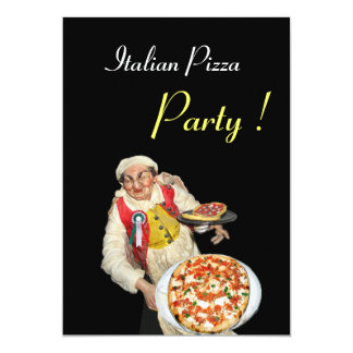 ITALIAN PIZZA PARTY , RESTAURANT red black Card