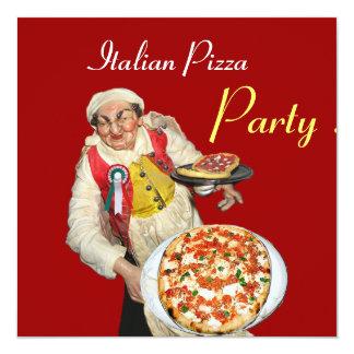ITALIAN PIZZA PARTY , RESTAURANT red black Invitation