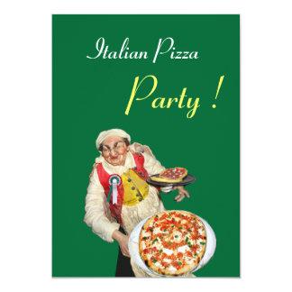 ITALIAN PIZZA PARTY , RESTAURANT red green 5x7 Paper Invitation Card