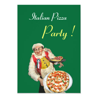 ITALIAN PIZZA PARTY , RESTAURANT red green Card