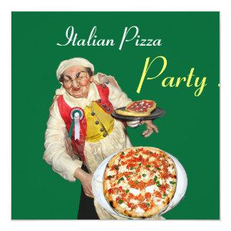 ITALIAN PIZZA PARTY , RESTAURANT red green Invitation
