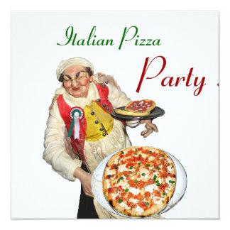 ITALIAN PIZZA PARTY , RESTAURANT red white Invitation