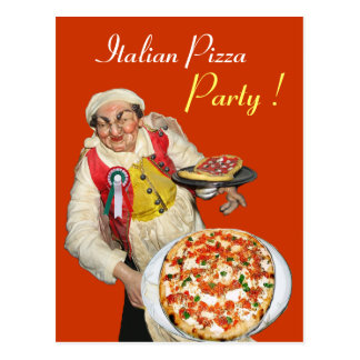 ITALIAN PIZZA PARTY Yellow Orange Recipe Postcard