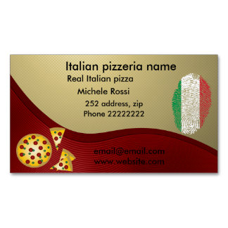 Italian pizzeria business card magnet
