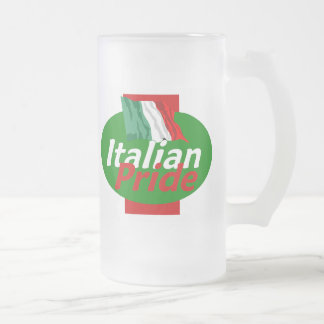 ITALIAN PRIDE 16 OZ FROSTED GLASS BEER MUG