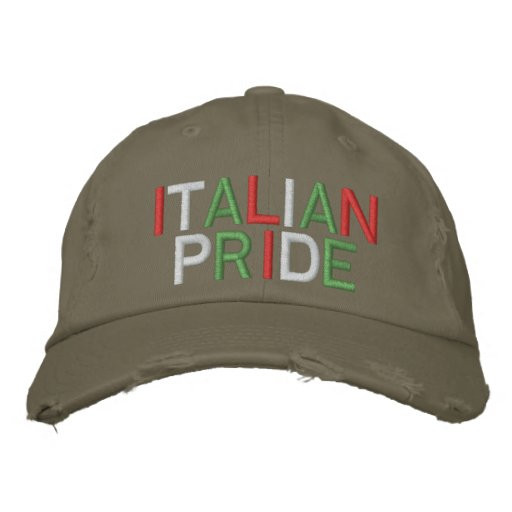 Italian Pride Olive Distressed Baseball Cap
