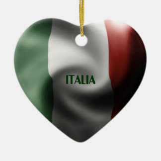 Italian Pride Double-Sided Heart Ceramic Christmas Ornament