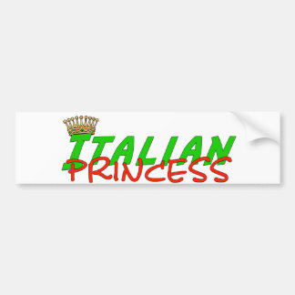 Italian Princess With Crown Bumper Sticker