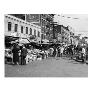 Italian Pushcart Market, Bronx: 1940 Postcard