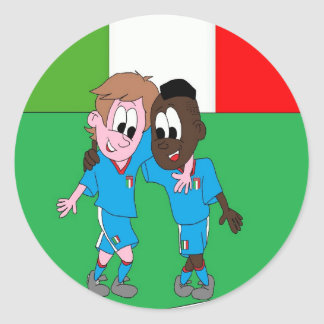 Italian reason Italy flags and players Classic Round Sticker