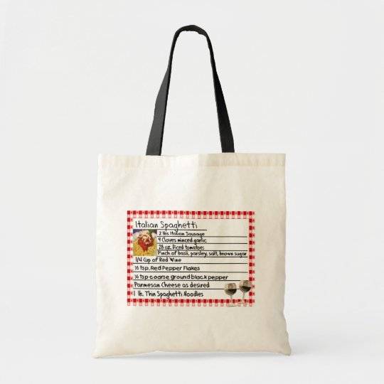 "Italian Recipe Card Gifts ""Spaghetti"" Tote Bag"