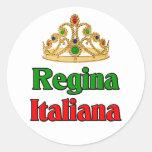 Italian Regina (Italian Queen) Round Stickers