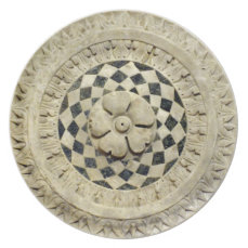 Italian Renaissance Marble Sculpted Ornament Dinner Plate
