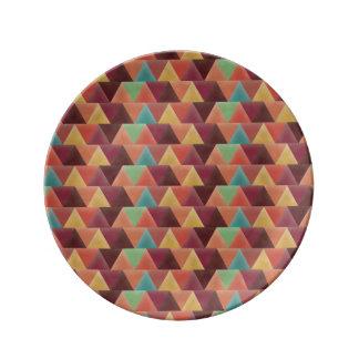 Italian Retro Triangles Porcelain Plate