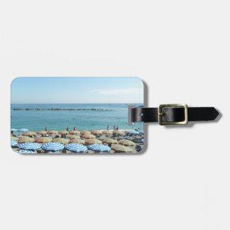 Italian Riviera, Cinque Terre, Beach Umbrellas Tag For Luggage