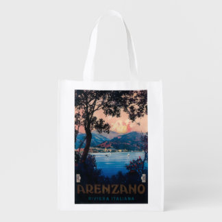 Italian Riviera Travel Poster Grocery Bag
