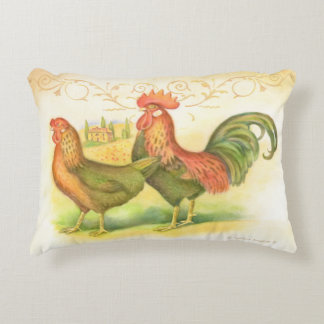 Italian rooster and hen villa in background accent pillow